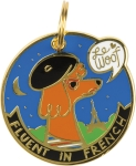 Fluent in French Le Woof Dog Collar Charm from Primitives by Kathy