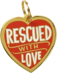 Rescued With Love Dog Collar Charm by Artist LOL Made You Smile from Primitives by Kathy