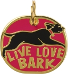Live Love Bark Hard Enamel Dog Collar Pet Charm from Primitives by Kathy