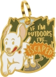If I'm Outdoors I've Escaped Hard Enamel Dog Collar Pet Charm from Primitives by Kathy