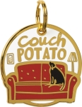 Couch Potato Dog Collar Charm by Artist LOL Made You Smile from Primitives by Kathy
