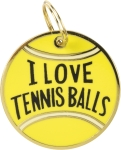 I Love Tennis Balls Dog Collar Charm by Artist LOL Made You Smile from Primitives by Kathy