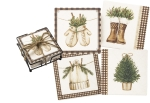 Set of 4 Branch Tree & Gingham Design Aborbent Stone Drink Coasters from Primitives by Kathy