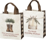 Warmest Holiday Wishes Double Sided Shopping Tote Bag from Primitives by Kathy