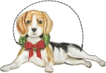 Christmas Beagle Hanging Wooden Ornament 5x3 from Primitives by Kathy