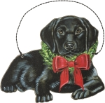 Christmas Black Lab Hanging Wooden Christmas Ornament 5 Inch from Primitives by Kathy