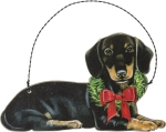 Christmas Dachshund Hanging Wooden Ornament 5x3 from Primitives by Kathy