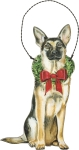 Christmas German Shepherd Hanging Wooden Ornament 3x5 from Primitives by Kathy