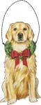 Christmas Golden Retriever Hanging Wooden Ornament 5 Inch from Primitives by Kathy