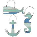 Anchor Seahorse & Whale Hanging Ornament Set by Artist Phil Chapman from Primitives by Kathy