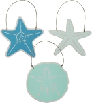 3 Piece Starfish Hanging Ornament Set by Artist Phil Chapman from Primitives by Kathy
