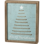 Christmas Tree Merry Christmas Decorative Inset Wooden Box Sign 8x10 from Primitives by Kathy