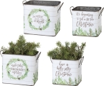 Pine Cone Design Set of 2 Decorative Tin Storage Bins Christmas Themed from Primitives by Kathy