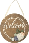 Floral Design Welcome Decorative Wooden Hanging Sign Wall Decor from Primitives by Kathy