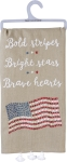 Bold Stripes Bright Stars Brave Hearts Cotton Dish Towel Primitives by Kathy
