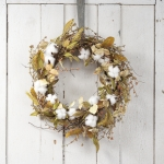 Farmhouse Style Cotton & Leaves Decorative Hanging Wreath 22 Inch from Primitives by Kathy