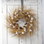 Farmhouse Style Cotton & Needles Decorative Wreath 34 Inch from Primitives by Kathy