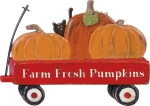 Red Wagon Farm Fresh Pumpkins Decorative Wooden Sign 9x6.75 from Primitives by Kathy