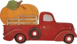 Orange Pumpkin Red Truck Decorative Wooden Wall Décor from Primitives by Kathy