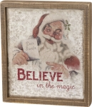 Santa Theme Believe In The Magic Decorative Wooden Box Sign from Primitives by Kathy