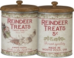 Holiday Reindeer Treats Decorative Tin Canister With Wooden Lid 8.25 Inch from Primitives by Kathy