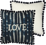 Indigo Dyes Chikan Stitched Love Throw Pillow 15x15 from Primitives by Kathy