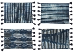 Mudcloth Tassels Indigo Dye Cotton Placemat Set (Set of 4) from Primitives by Kathy