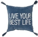 Indigo & Cream Live Your Best Life Decorative Throw Pillow 16x16 from Primitives by Kathy