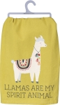 Llamas Are My Spirit Animal Cotton Dish Towel by Artist Andie Hanna from Primitives by Kathy