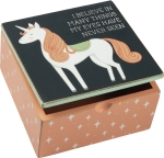 Unicorn Themed I Believe In Many Things My Eyes Have Never Seen Hinged Wooden Keepsake Box from Primitives by Kathy