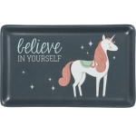 Unicorn Design Believe In Yourself Stoneware Trinket Tray from Primitives by Kathy
