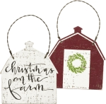 Christmas On The Farm Barn Shaped Hanging Wooden Christmas Ornament 3 Inch from Primitives by Kathy