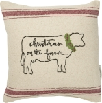 Cow Themed Christmas On The Farm Decorative Cotton Throw Pillow 10x10 from Primitives by Kathy