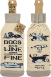 Dogs And Wine Make Everything Fine Wine Bottle Sock Holder from Primitives by Kathy