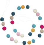 Solid Pom Accents Felt Sphere Multi Colored Garland 72 Inch from Primitives by Kathy