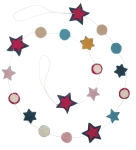 Bohemian Style Pom & Star Felt Garland 72 Inch from Primitives by Kathy