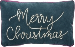 Merry Christmas Velvet Dori Stitched Decorative Throw Pillow 19x12 from Primitives by Kathy