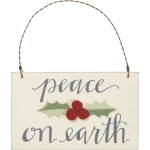 Felt Holly Peace On Earth Hanging Wooden Christmas Ornament 5x3 from Primitives by Kathy