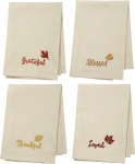Thankful Blessed Grateful & Lover Falling Leaves Cotton Dinner Napkin Set from Primitives by Kathy