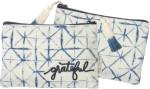 Indigo Grateful Velvet Zipper Pouch Travel Bag from Primitives by Kathy