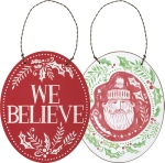 Double Sided Santa Design We Believe Hanging Wooden Christmas Ornament 4x5 from Primitives by Kathy
