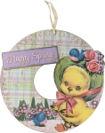 Happy Spring Wooden Hanging Wreath With Ducking 18 Inch from Primitives by Kathy