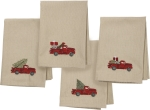 Set of 4 Red Truck With Christmas Tree Cotton & Linen Blend Cloth Dinner Napkins from Primitives by Kathy