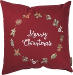 Wreath Themed Merry Christmas Cotton Throw Pillow 16x16 from Primitives by Kathy