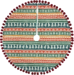 Bohemian Tassels Cotton Christmas Tree Skirt 24 Inch from Primitives by Kathy