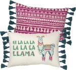 Fa La La La La La La Llama Double Sided Block Print Cotton Throw Pillow 15x10 from Primitives by Kathy