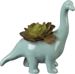 Brontosaurus Dinosaur Decorative Ceramic Planter 8 Inch from Primitives by Kathy