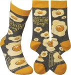 Have An Egg-cellent Day Colorfully Printed Cotton Socks from Primitives by Kathy