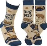 Dog Tired Colorfully Printed Cotton Socks from Primitives by Kathy