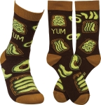 Avocado Toast Yum Colorfully Printed Cotton Socks from Primitives by Kathy